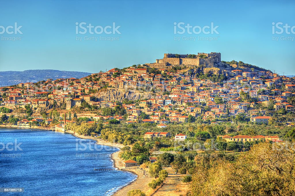 Molyvos Castle and Beautiful Blue Sky in Lesvos Island, Mythimna stock photo
