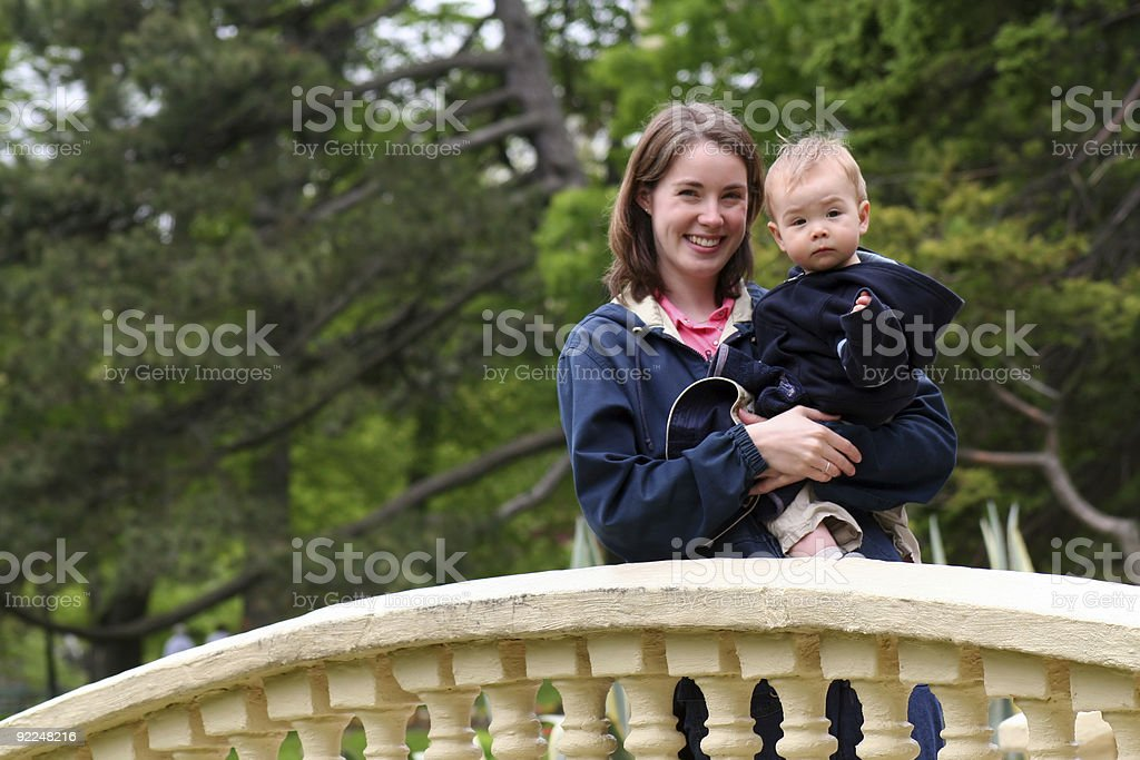 Mom and Baby in Public Gardens royalty-free stock photo