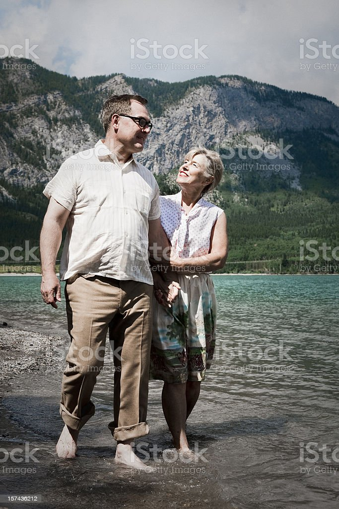 Mom and Dad by the Lake royalty-free stock photo
