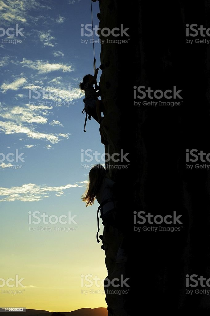 Mom and Daughter Climbing royalty-free stock photo