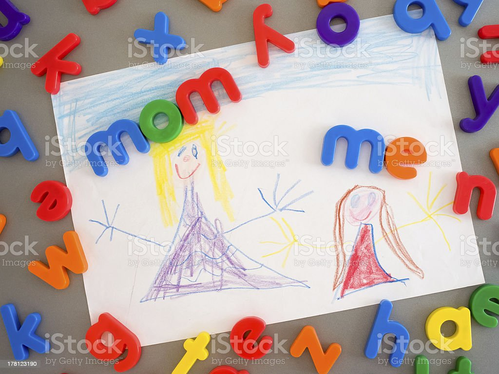 Mom and daughter drawing royalty-free stock photo