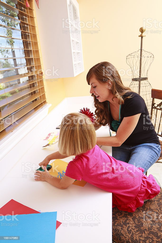 Mom And daughter Enjoying Crafts royalty-free stock photo