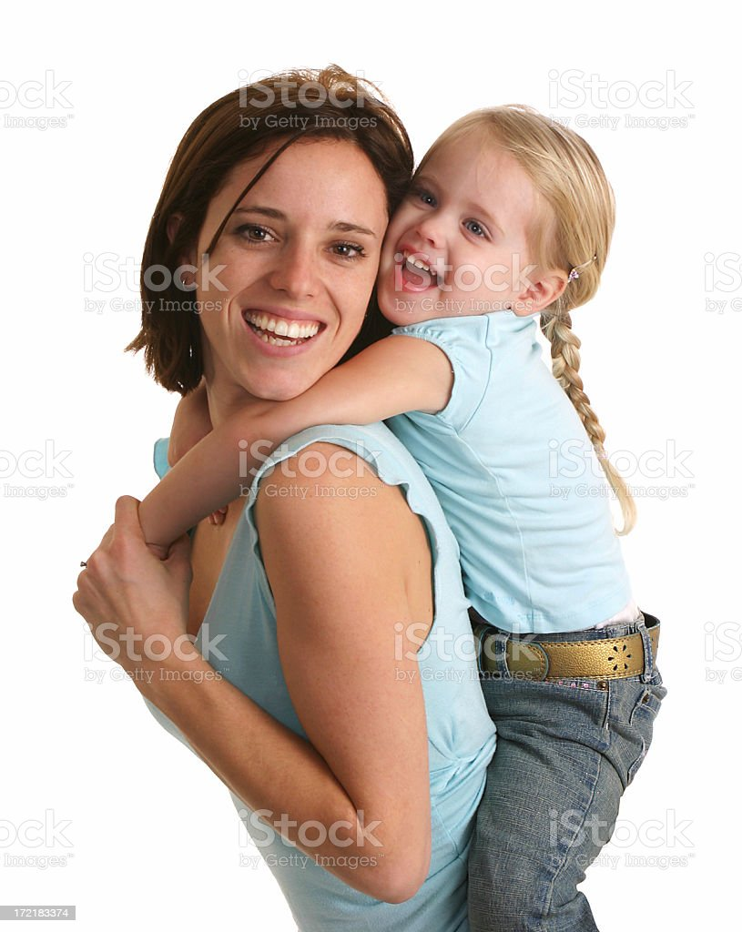 Mom and daughter piggy back ride royalty-free stock photo