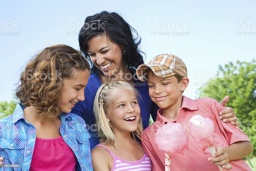 Mom and Her Children Spending Fun Time Together royalty-free stock photo