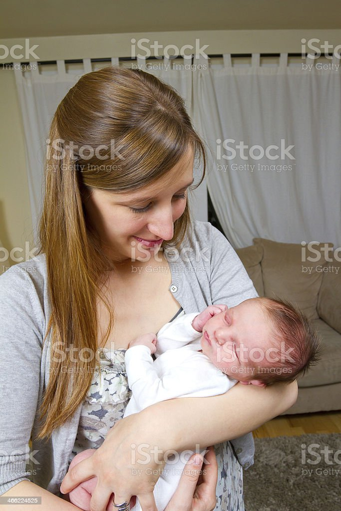 Mom and Newborn Baby Boy royalty-free stock photo