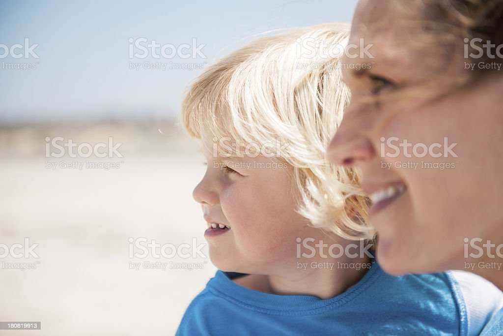 Mom and Son at the Beach royalty-free stock photo