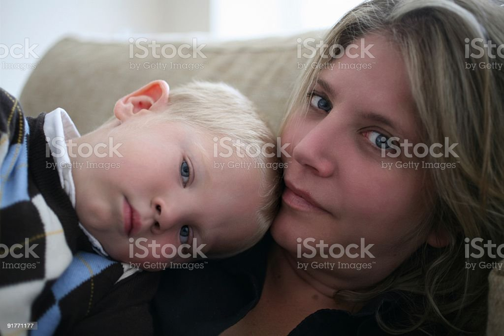 Mom and Son having a tender loving moment royalty-free stock photo