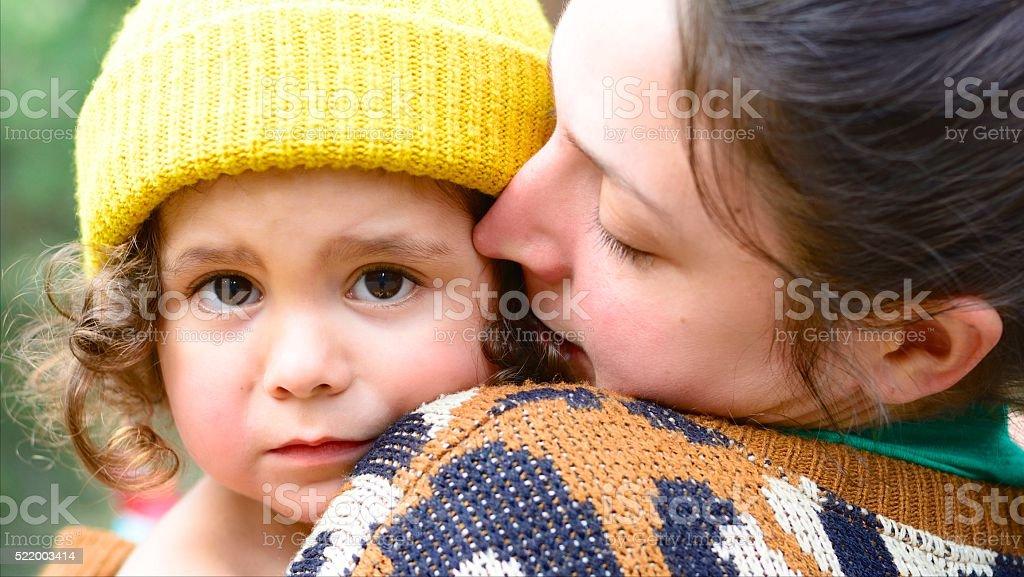 Mom Comforting Child stock photo