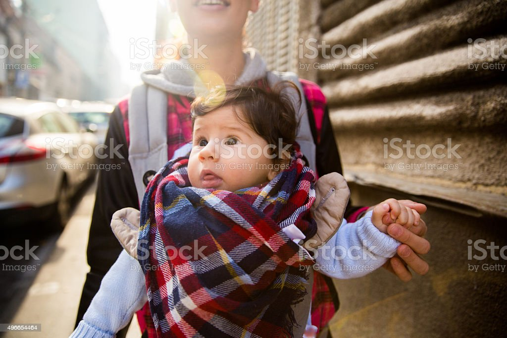 Mom holding her son stock photo