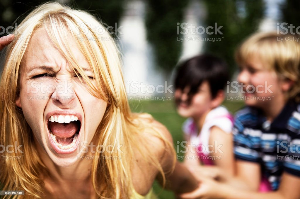 Mom is going crazy stock photo