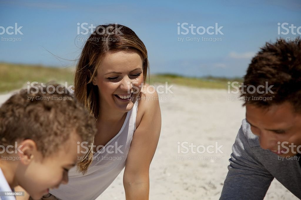 Mom Looking Happy with Son and Husband royalty-free stock photo