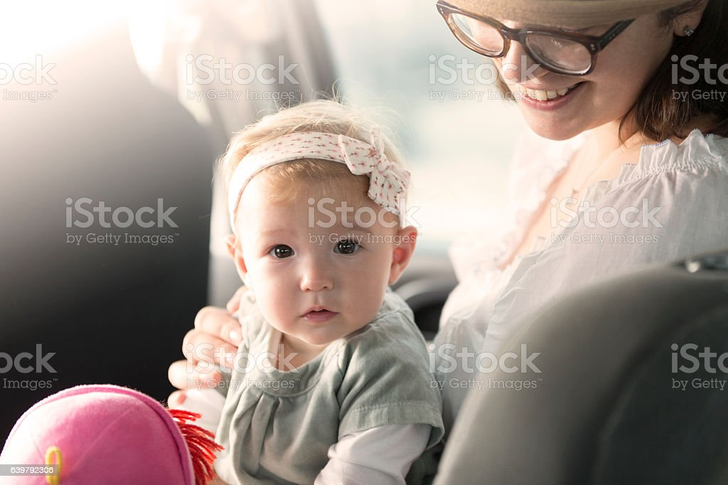 Mom, who is that? stock photo