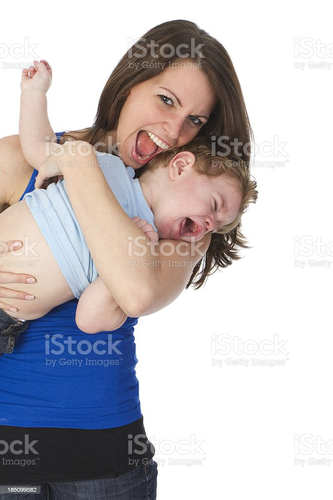 mom with angry toddler royalty-free stock photo