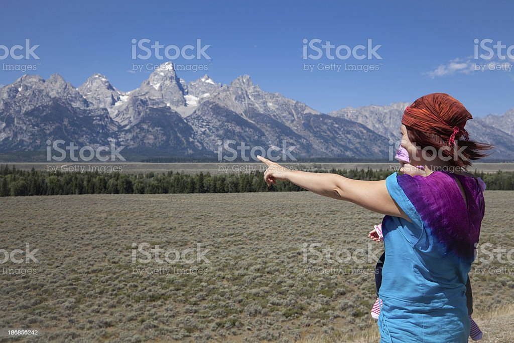 Mom with baby daughter in Grand Teton National Park stock photo