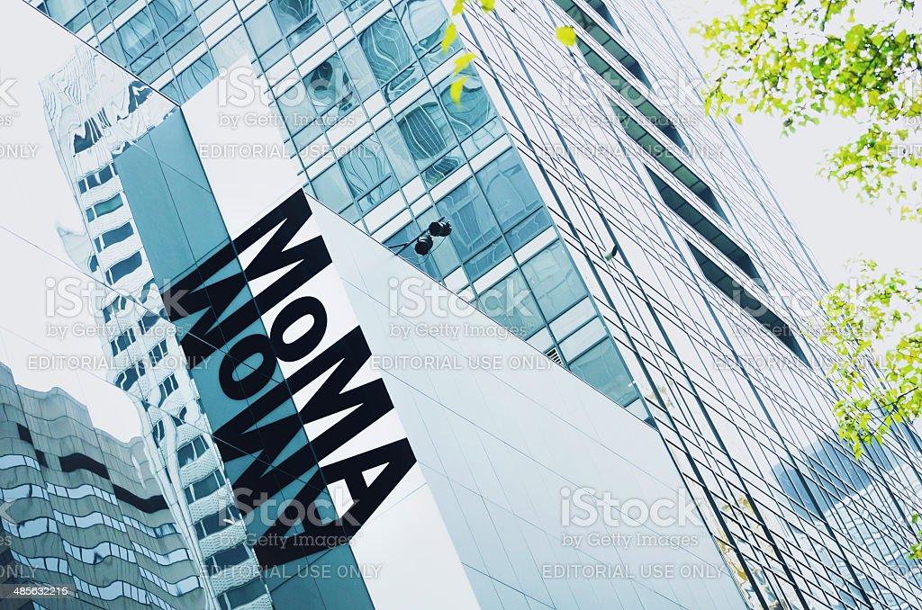 MoMA sign, The Museum of Modern Art, Manhattan, New York stock photo