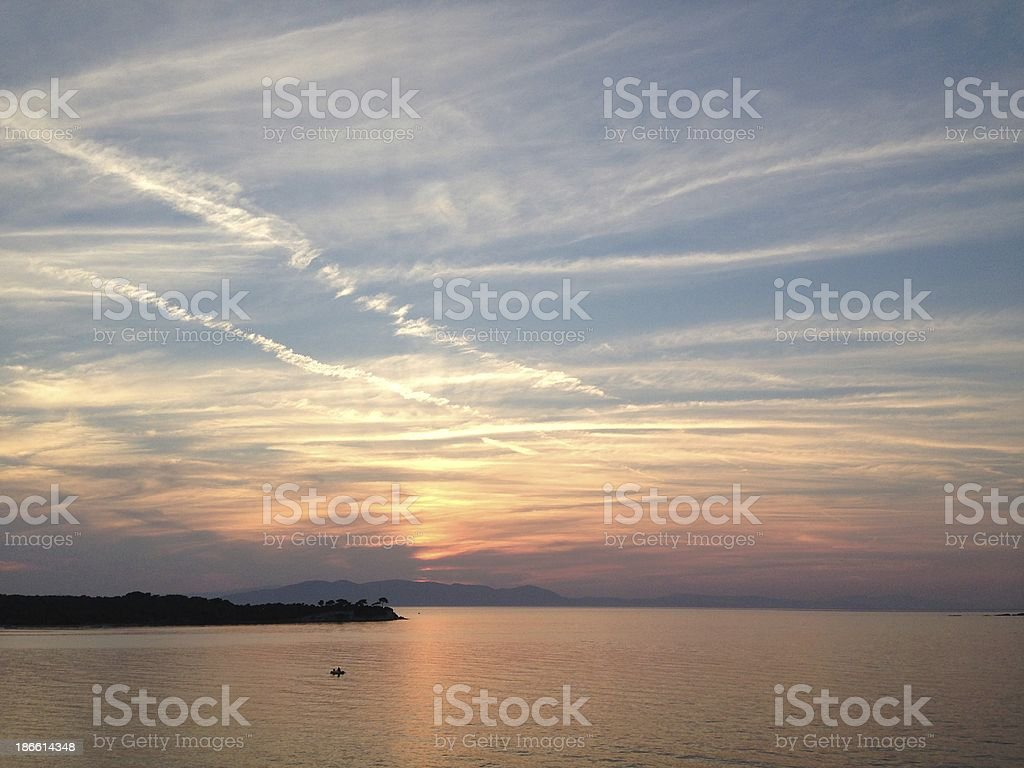 Moment before sunset over the Gulf of Izmir, Turkey royalty-free stock photo