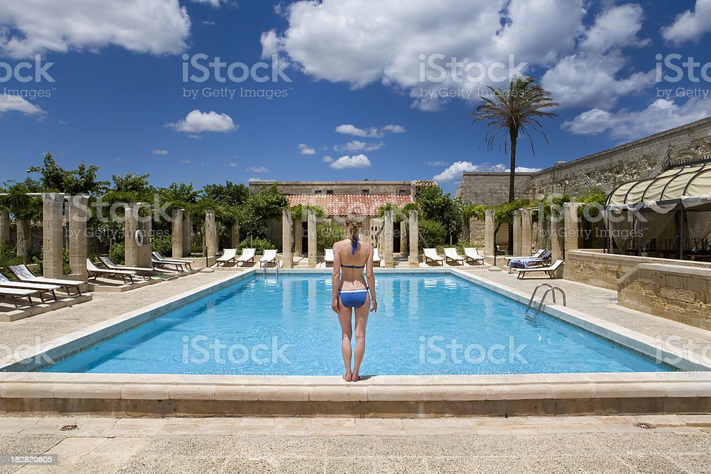 Moment before the jump to swimming pool royalty-free stock photo