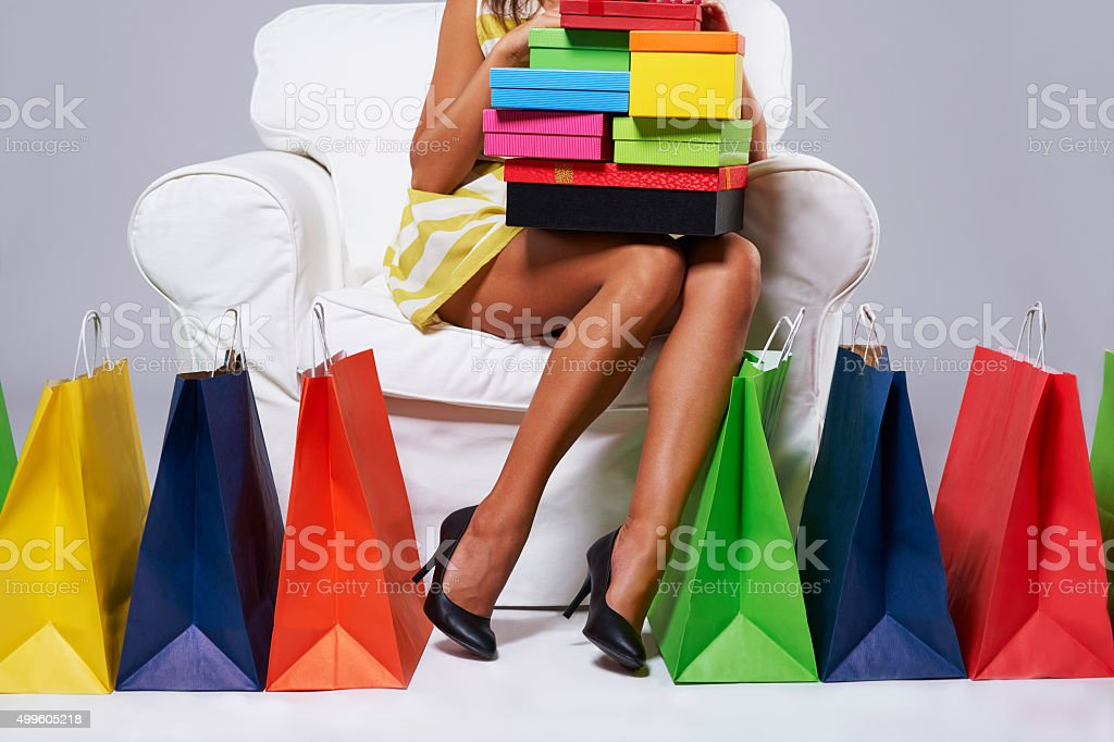 Moment of rest after long hours of shopping stock photo