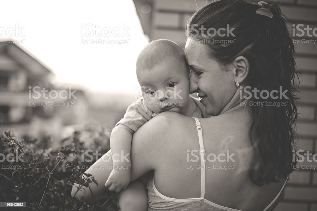 Mother and baby in moments of true love . Looking forward to the...