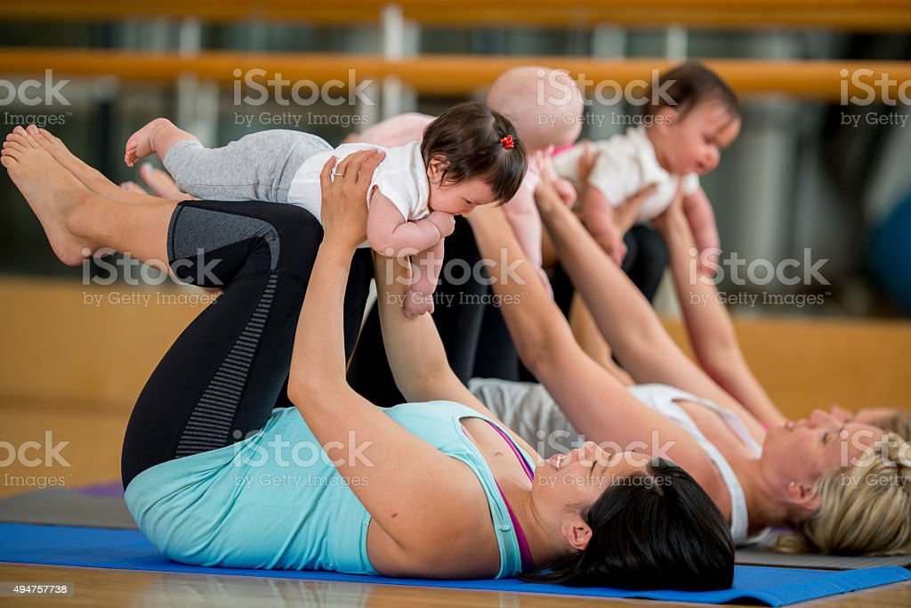 Mommy and Me Yoga Class stock photo