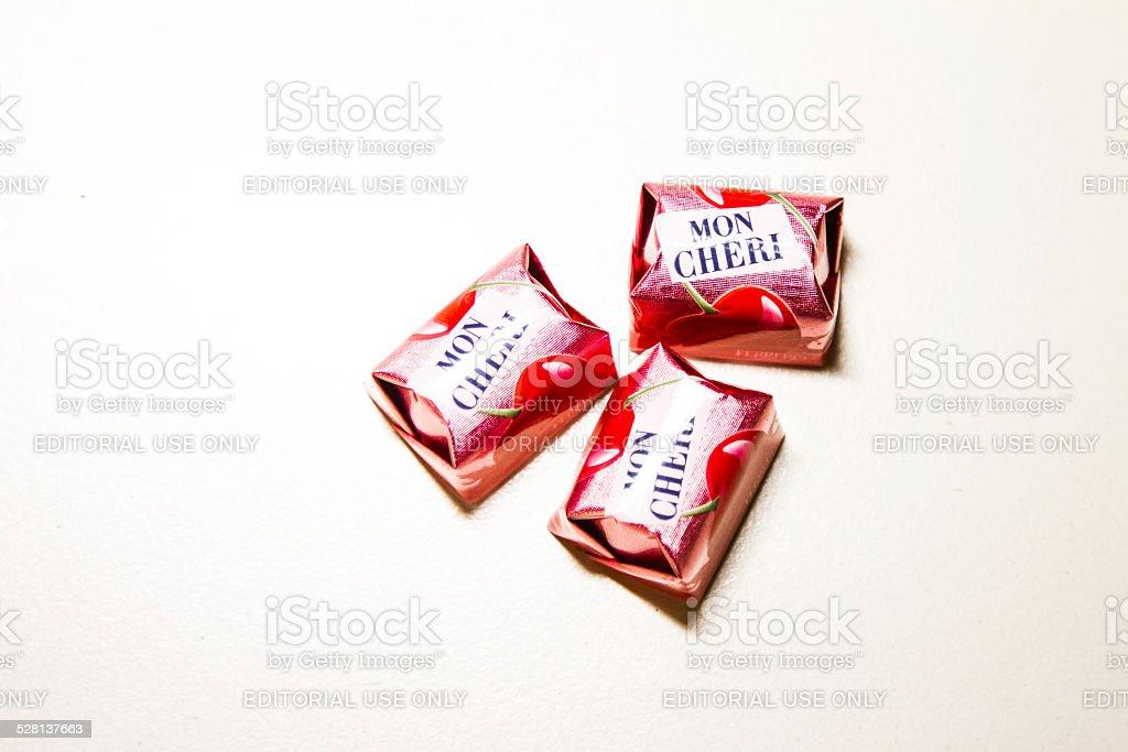Mon Cheri on white background stock photo
