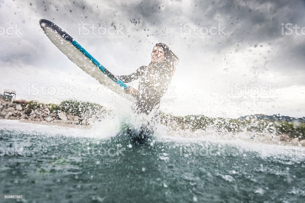 C'mon let's go surfing! stock photo