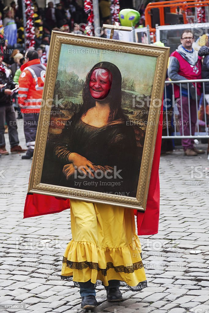Mona Lisa as a carnival costume stock photo