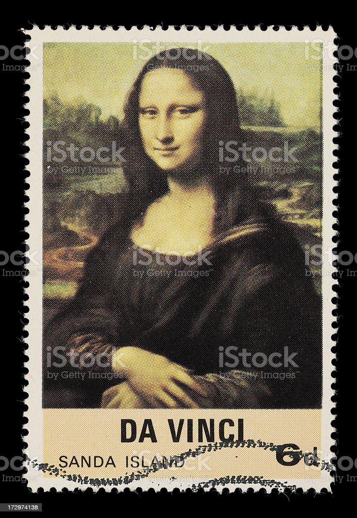 Mona Lisa postage stamp stock photo