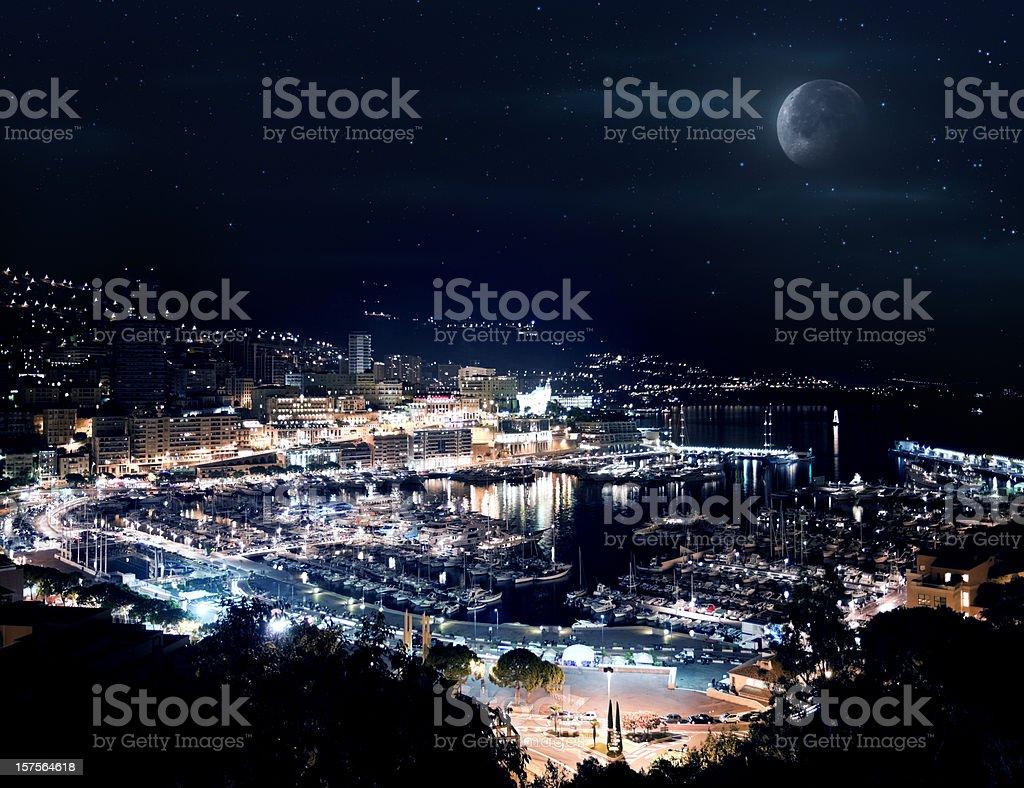 Monaco at night royalty-free stock photo
