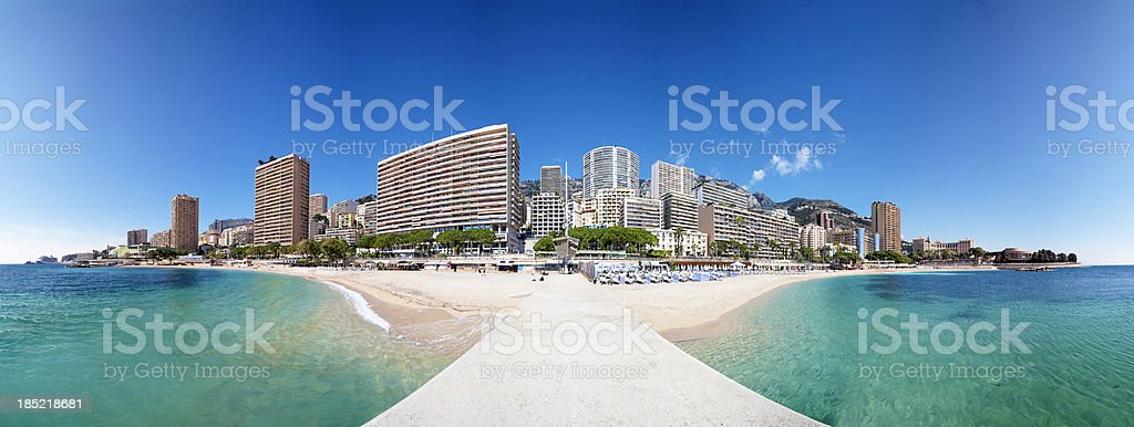 Monaco Beach Cityscape Panorama stock photo