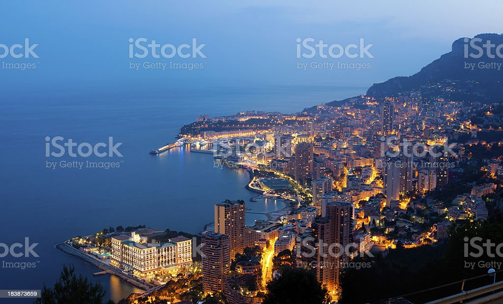 XXXL Monaco (Monte Carlo) by night panoramic stock photo