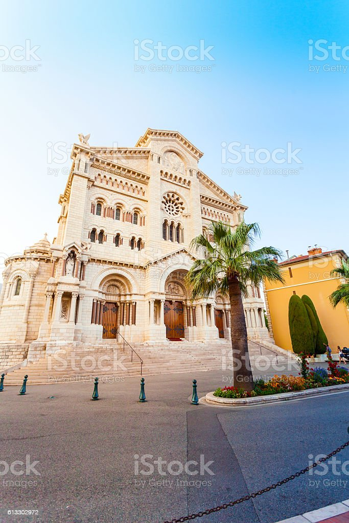 Monaco Cathedral in the sunset. stock photo