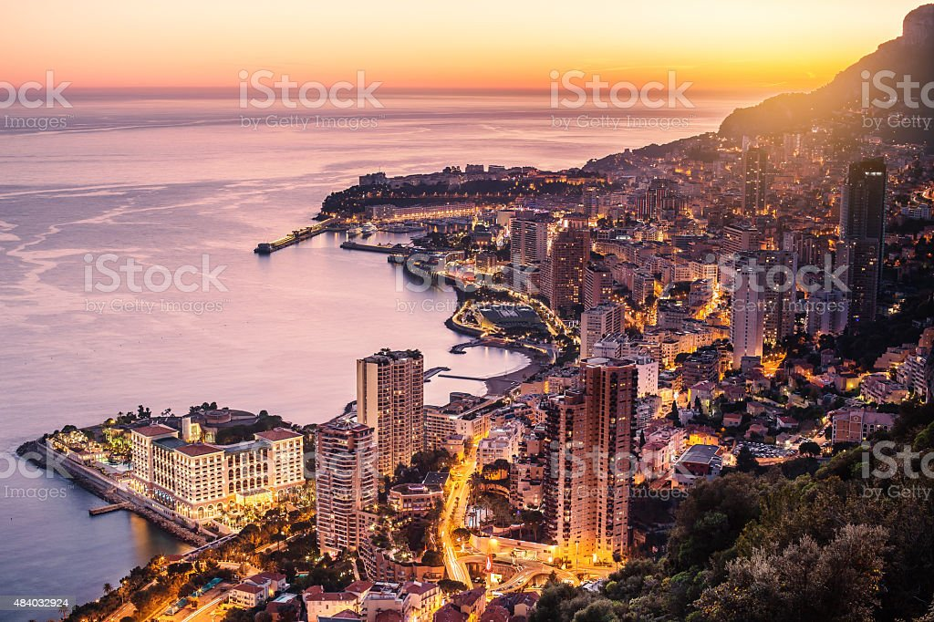 Monaco city illuminated aerial view stock photo