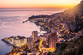 Monaco city illuminated aerial view
