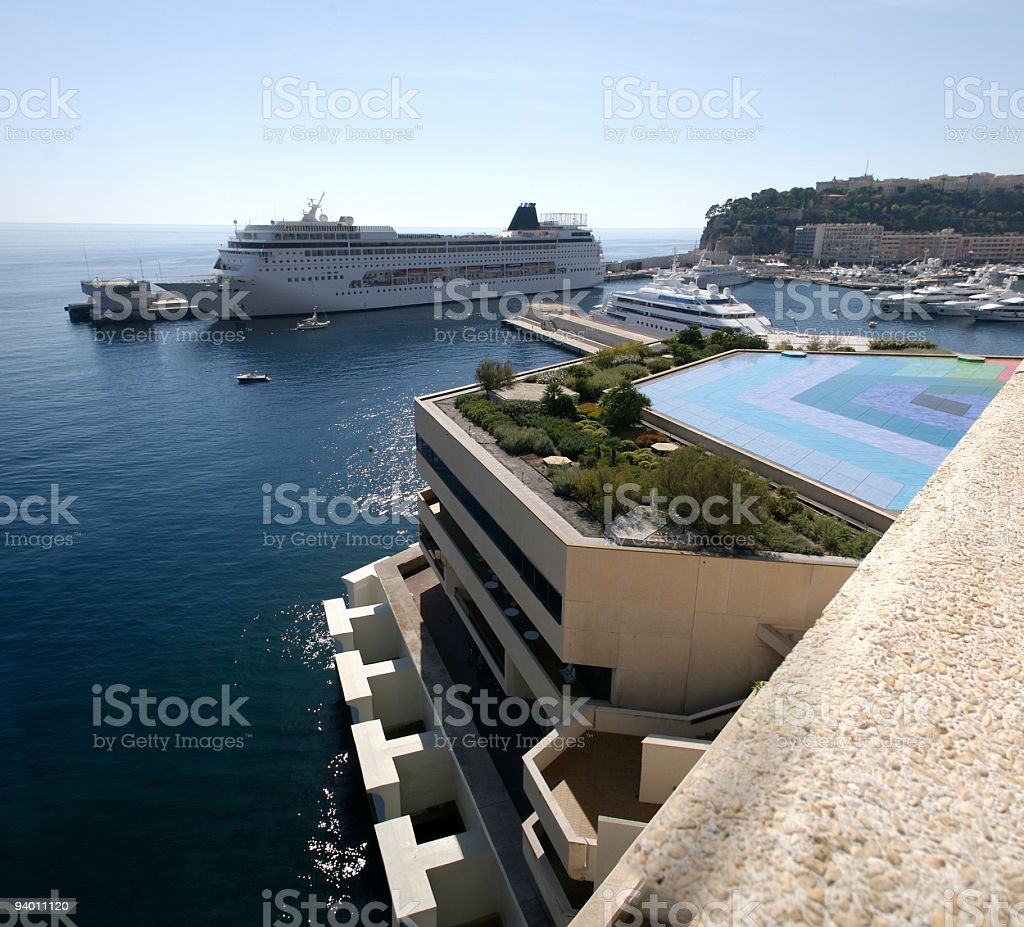Monaco Cruise Ship and Fairmont Hotel in Monte Carlo royalty-free stock photo