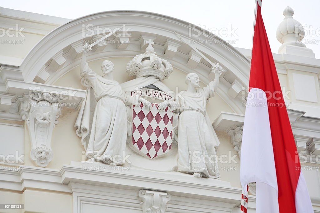 Monaco emblem and flag royalty-free stock photo