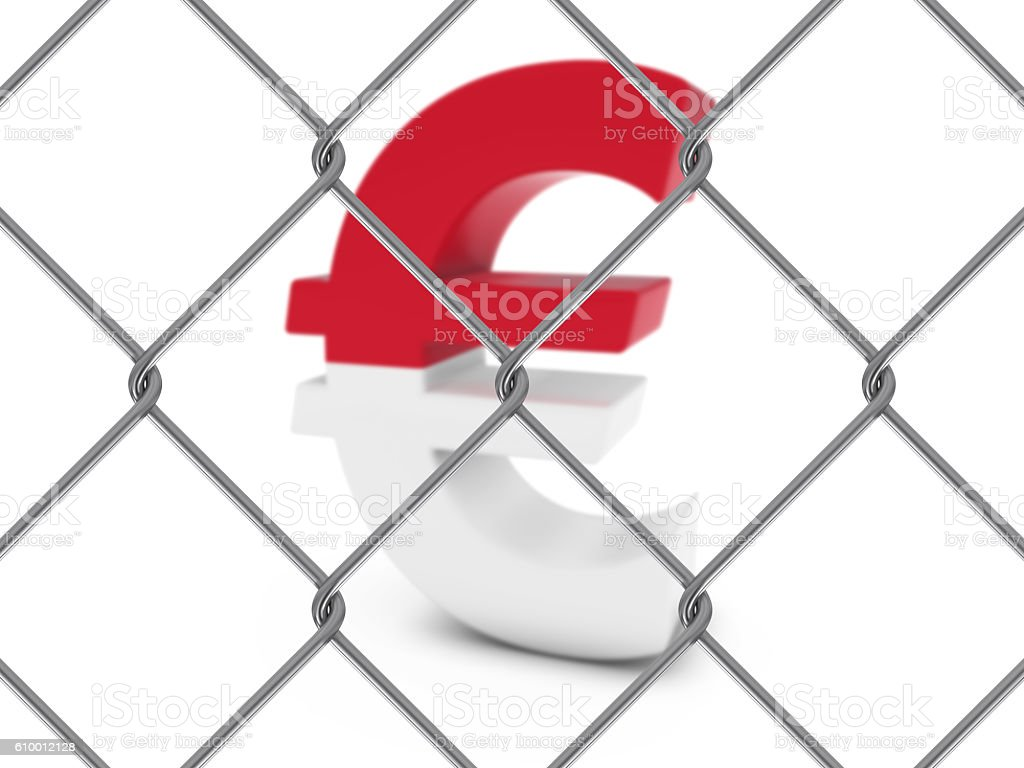 Monaco Flag Euro Symbol Behind Chain Link Fence stock photo