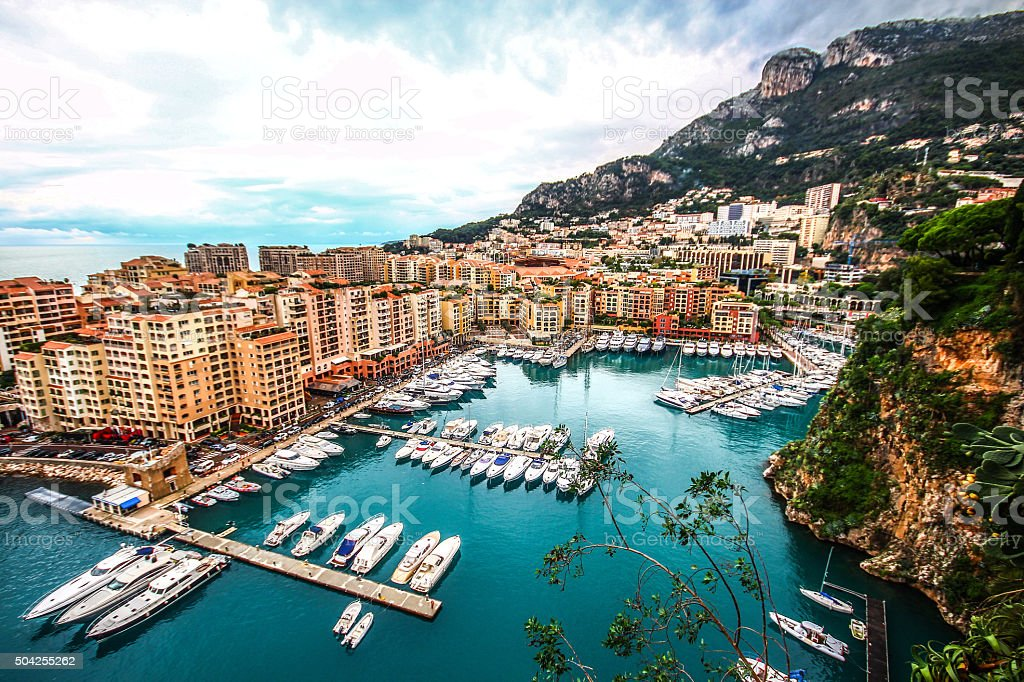 Monaco habour in Fontvieille, France stock photo