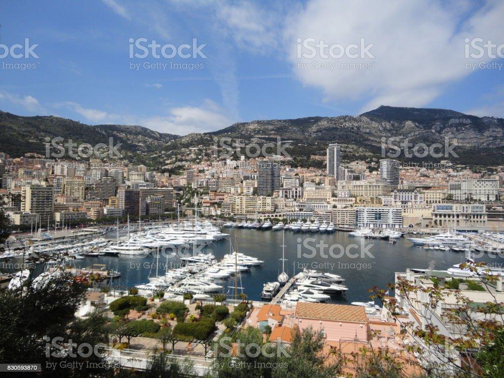 Monaco Harbor with nice blue sky stock photo
