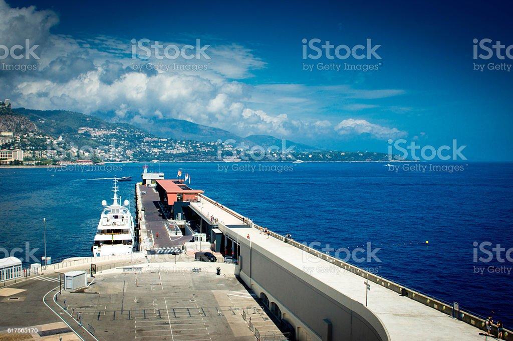 Monaco harbour wall stock photo