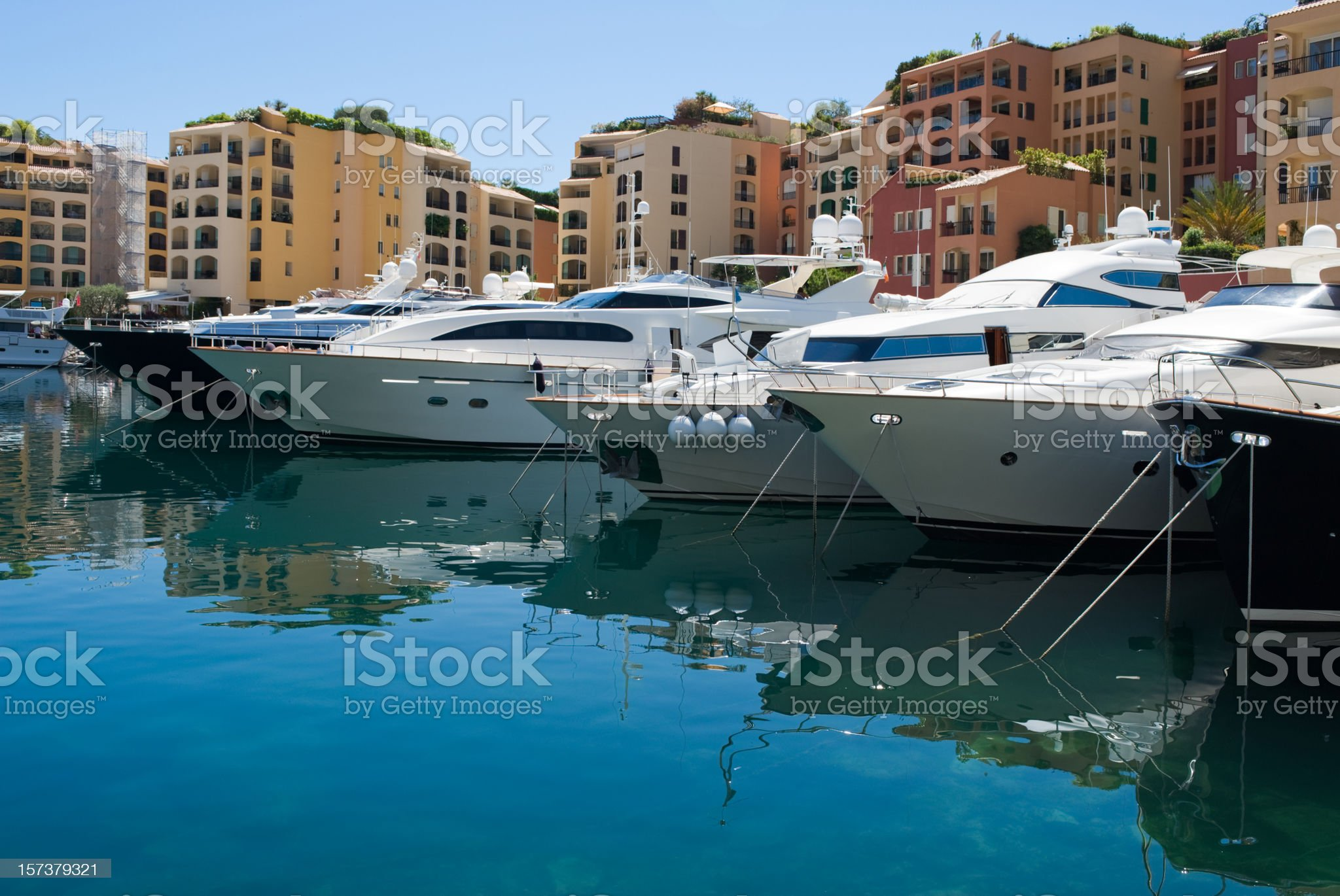 Monaco luxury yachts and buildings royalty-free stock photo