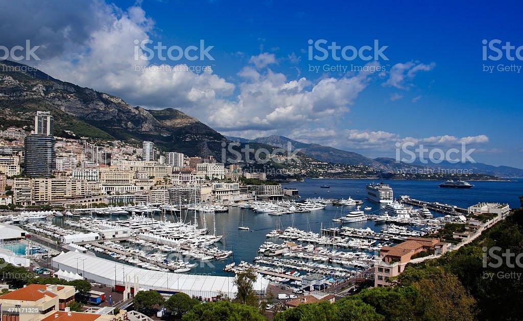 Monaco Marina and Monte Carlo royalty-free stock photo