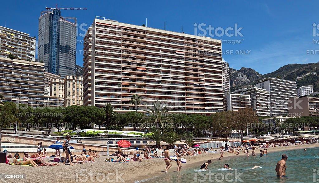 Monaco - Monte Carlo buildings from the city beach stock photo