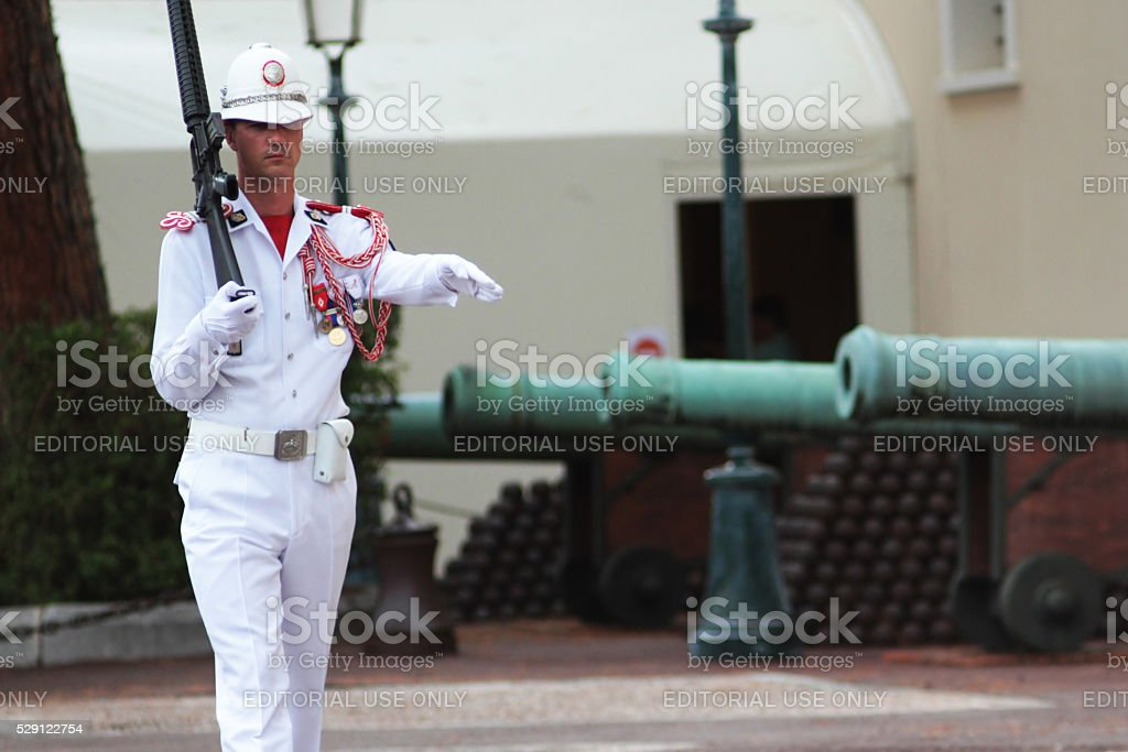 Monaco, Monte Carlo: Royal prince guard stock photo