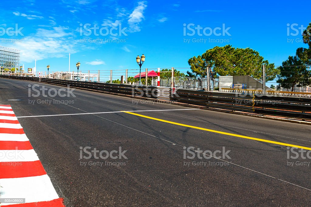 Monaco, Monte Carlo. Sainte Devote straight race asphalt, Grand stock photo