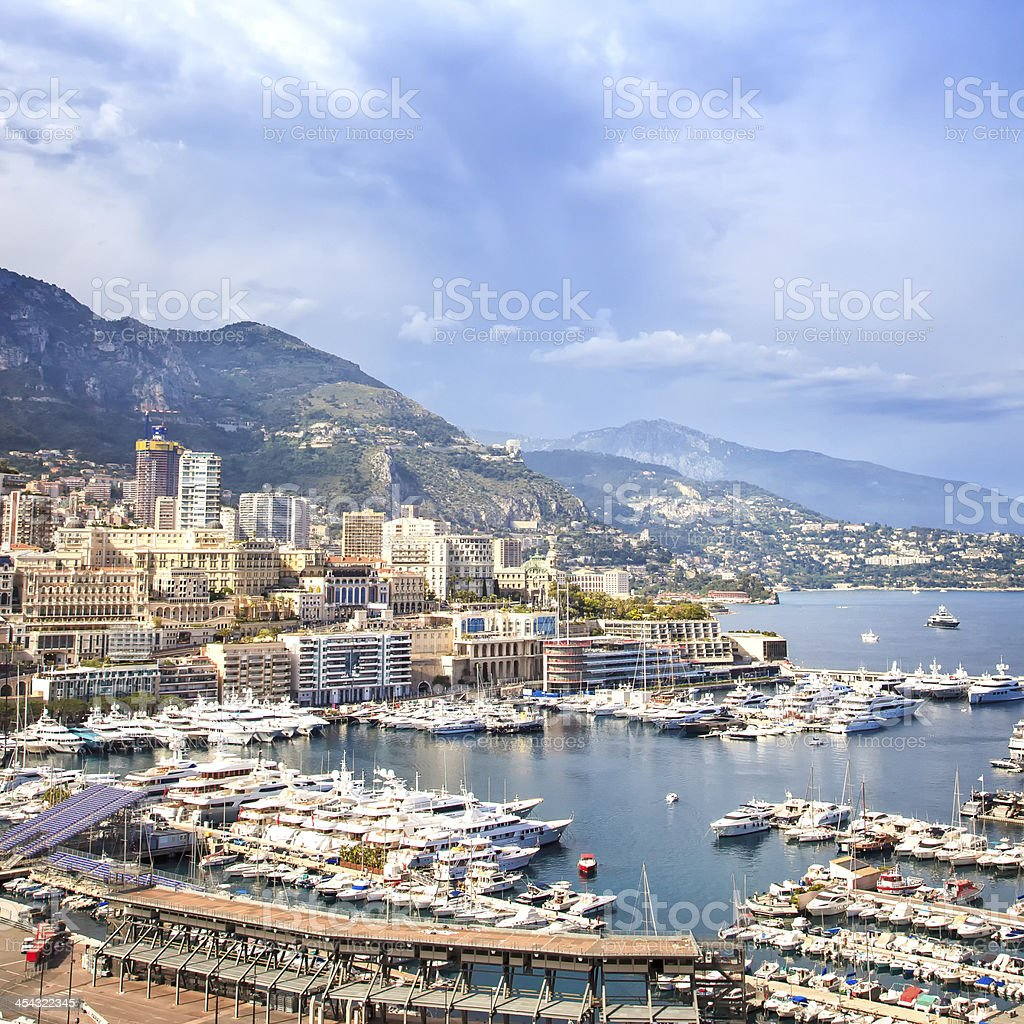 Monaco Montecarlo principality aerial harbor view. Azure coast. France royalty-free stock photo