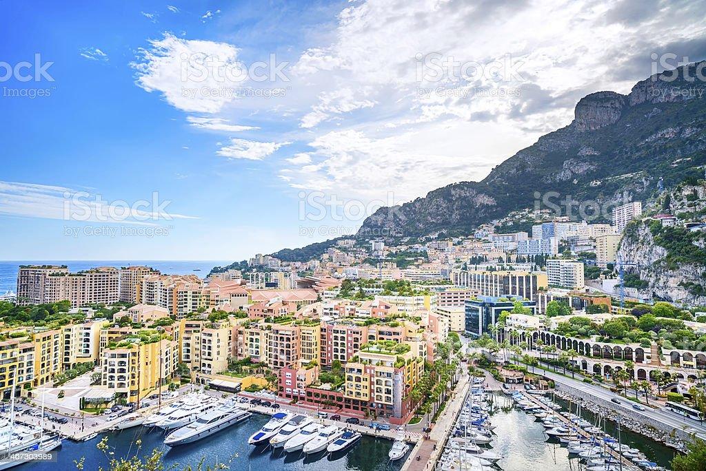 Monaco Montecarlo principality aerial view cityscape. Azure coast. France stock photo