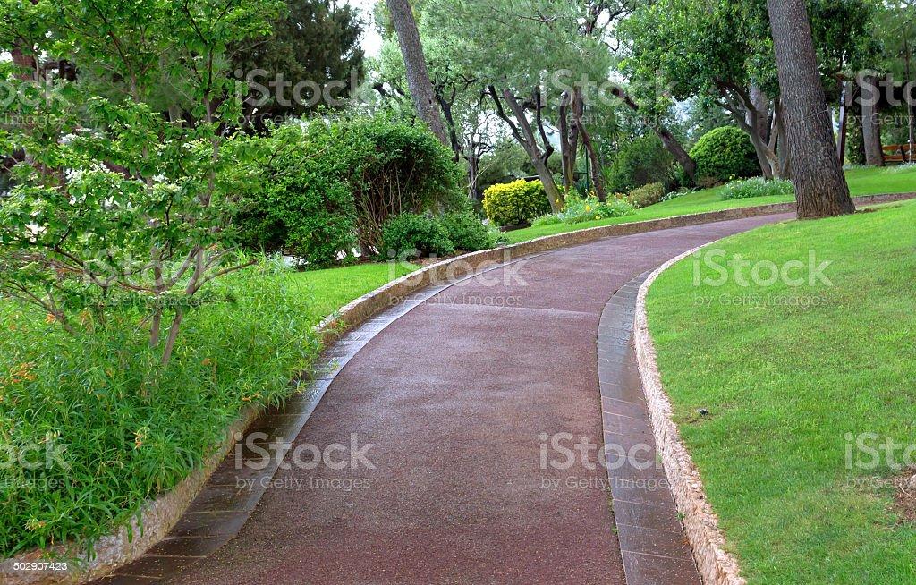 Monaco - Pedestrian path in Saint Martin Park in Monte Carlo stock photo