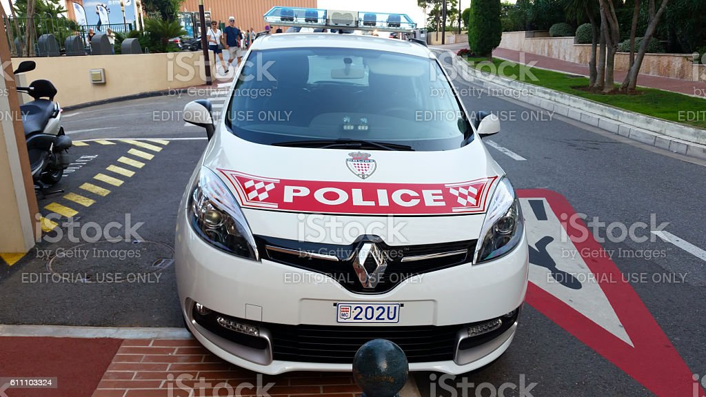 Monaco Police Car Parked On The Street, Front View stock photo