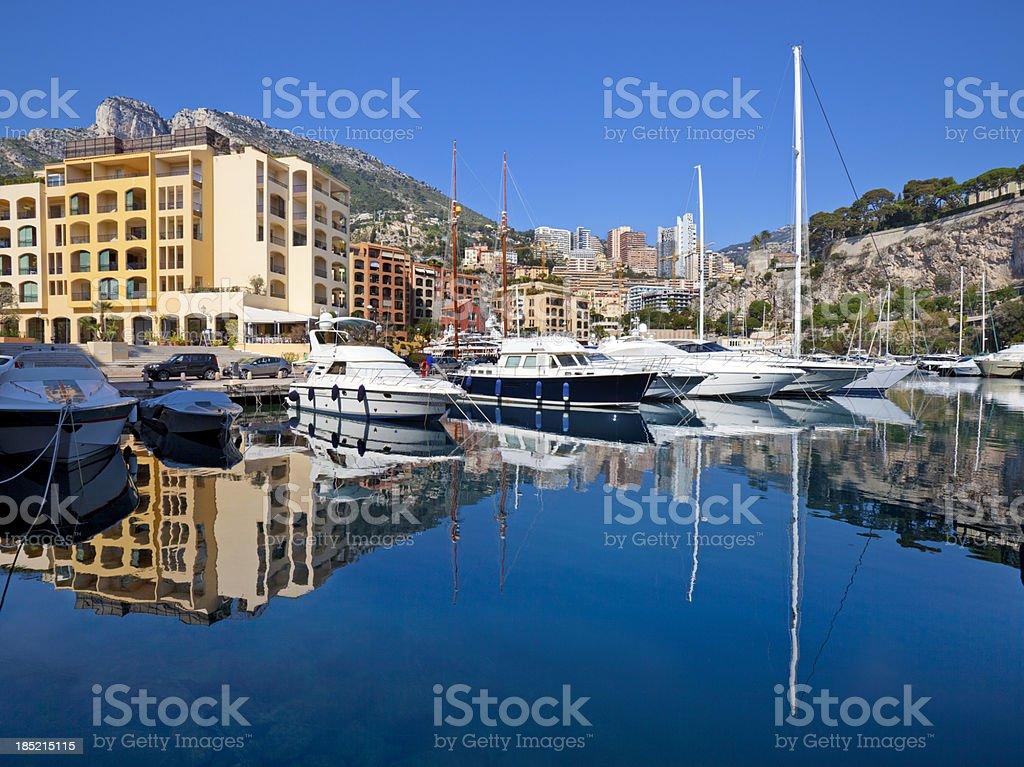 Monaco Residential Yacht Marina Reflection stock photo